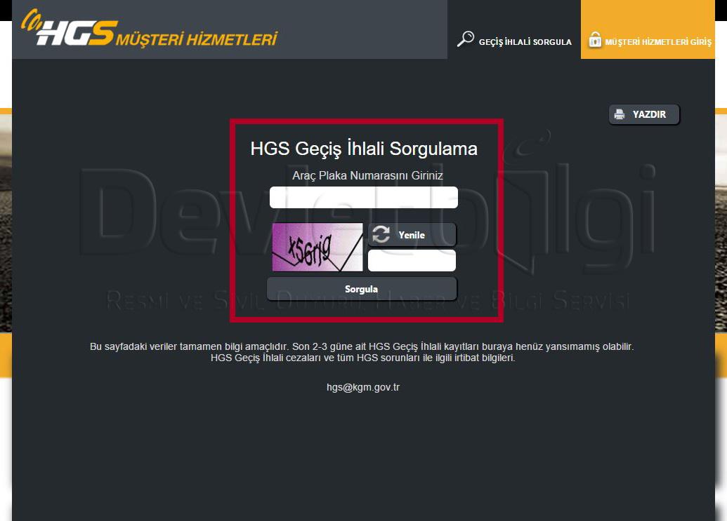 HGS Geçiş İhlali Sorgulama Ekranı