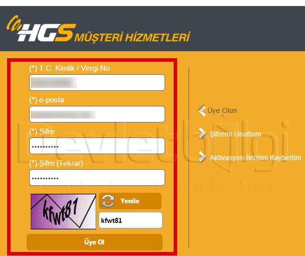 HGS Üyelik Ekranı