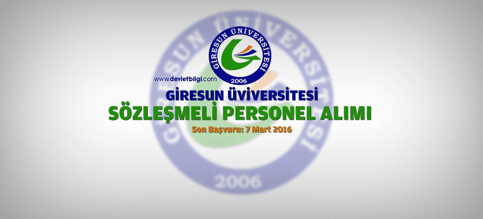 Giresun Üniversitesi Sözleşmeli Personel Alımı